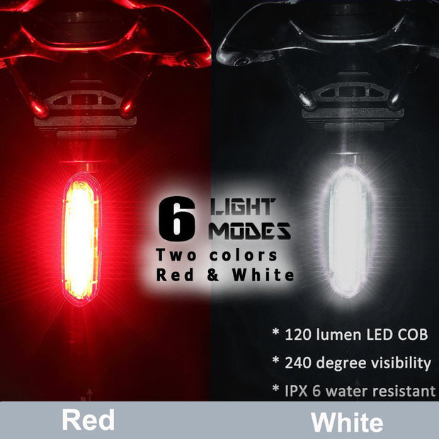 Bike Tail Light Headlight USB Rechargeable, Bicycle Flashing Rear Taillight, LED Safety Warning Light, Helmet A Backpack Light