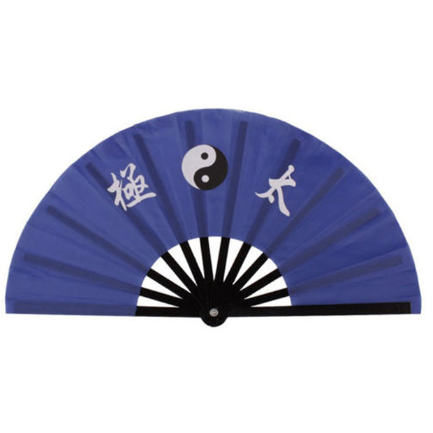 Blue/Red Color 13.8'' Chinese Bamboo Frame Tai Chi Martial Arts Kung Fu Fan