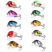 Bobing 10pcs/set Portable 3cm 1.5g Mini Fake Crankbait Fishing Lure Shallow Water Wobbler Hard Bait Crank Bait With Storage Box