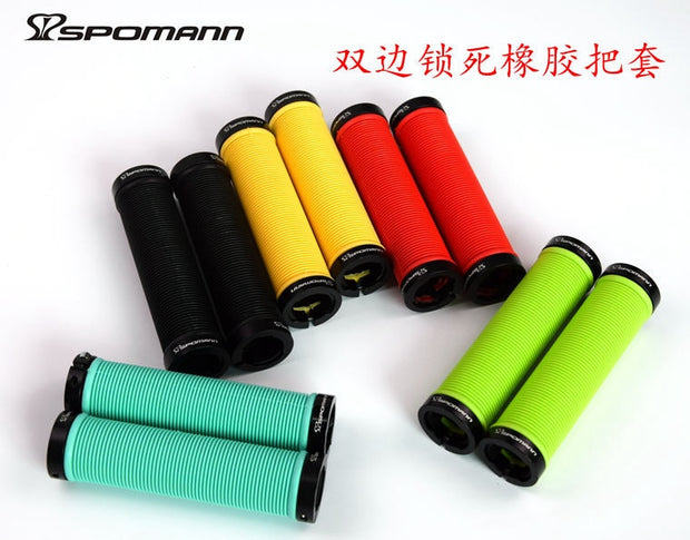 Brand New 5 Colors SPOMANN Alloy+TPR Bicycle Handlebar Locked Grip Bike Handlebar End Plugs MTB Bike Light Parts Free Shipping