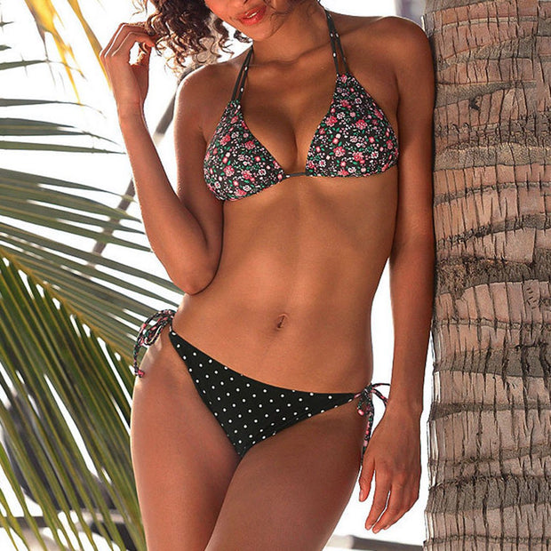 Brazilian Style Trendy Women Bikini Set Print Swimwear Halter Vest Tops Two-Piece Swimsuit Beach Bathing Suit For Women Biquini
