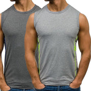 CALOFE Men Running Vests Sweat Sports Tank Top Print Cotton Bodybuilding Sport Vests Men's Quickly Dry Sleeveless Training Shirt