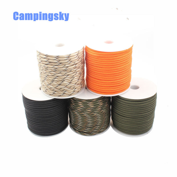 CAMPINGSKY 550 Paracord Parachute Cord Lanyard Tent Rope 9 Strand 100 FT Rool Paracord For Hiking Camping