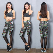 Camo Printed Stichting Yoga Pants High-waist Big Size Sports Pants Running Leggings For Women Tight Mesh Yoga Leggings