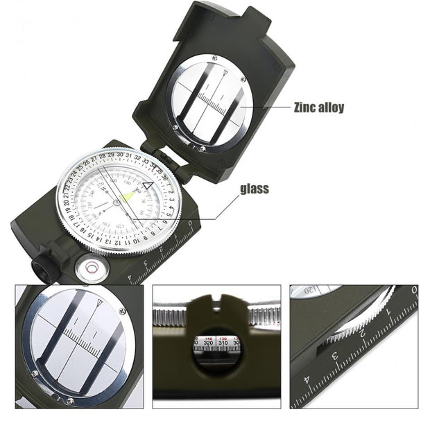 Camping Survival Compass Military Sighting Luminous Lensatic Waterproof Compass Geological Digital Compass Outdoor Equipment