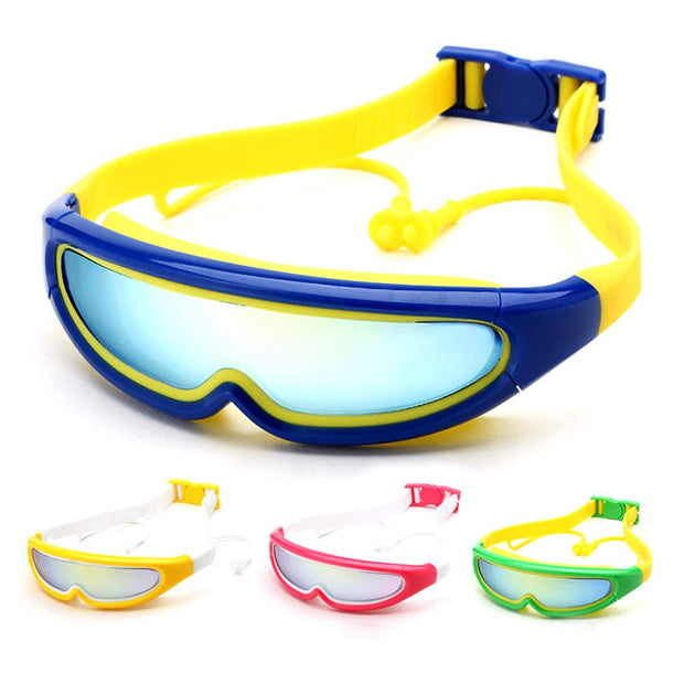 Children Large Frame Swimming Goggles Waterproof And Anti Fog Swimming Glasses Green Pink Yellow And Blue Color High Quality