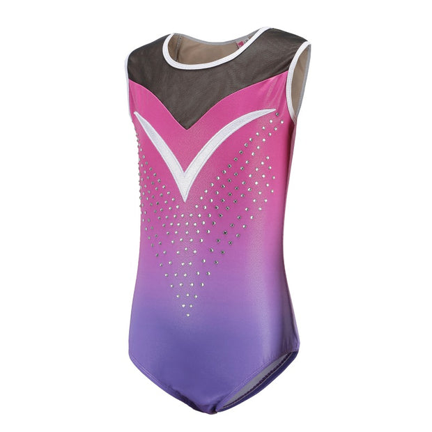 Competition Practice Children Girls Diamante Sleeveless Ballet Practice Dance Wear Gymnastics Bright Color Body Suits