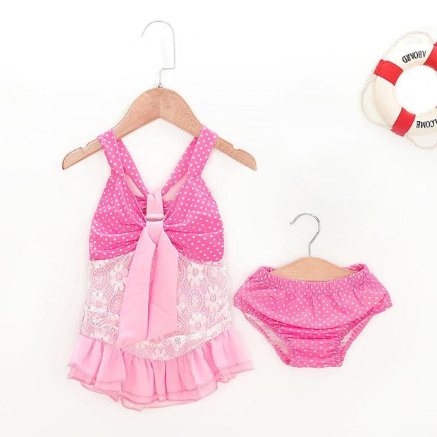 Cute 2pcs Kids Swimwear Pink Halter Swimsuit Baby Girls Bikini Set Dot Print Summer Ruffle Split Bathing Suit
