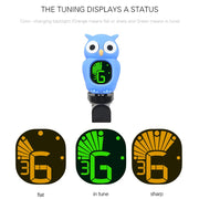 Cute Cartoon Owl Clip-On Tuner LCD Display For Guitar Chromatic Bass Ukulele Violin