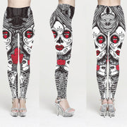 DIQIAN Bodybuilding Halloween Skull Printing Yoga Pants Women Elastic Fitness Sport Pants Femme Running Ninth Pants Size 5XL