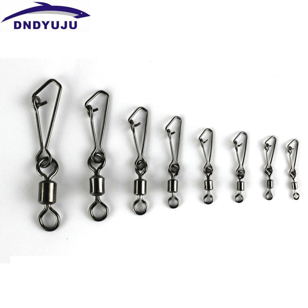 DNDYUJU 80PCS Fishhook Rolling Swivel With Hooked Snap Hook Lure Connector For Fishing Snap MS+QL Fishing Connector Hook