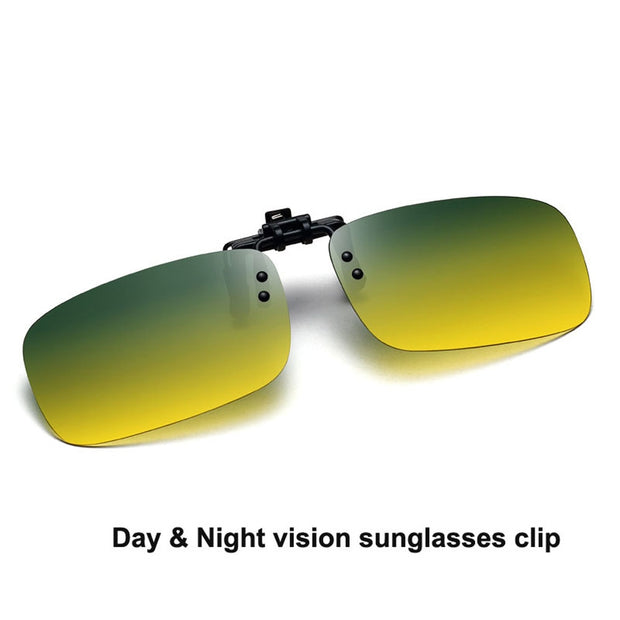 Day & Night Vision Sunglasses Clipped Polarized Sunglasses Clip On Myopia Glasses For Driving Fishing Flip Up Sunglass Oculos