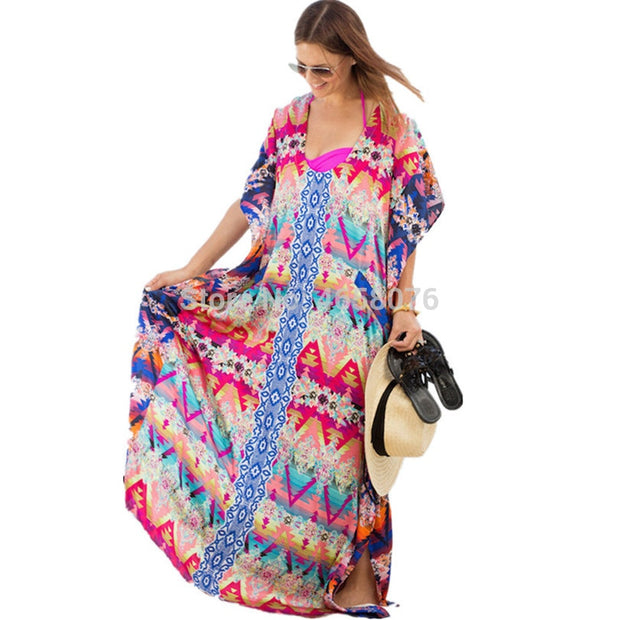 Departure Beach Dresses Wear Cover Up And Tunics Lace Coverups Woman Swim Skirt 2019 Chiffon Flower Dress Smock Loose Robes