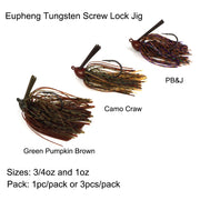 Eupheng Tungsten Screw Lock Bass Jig Head Extreme Heavy Cover Jig Unique Design Bass Lure Tungsten Head Fishing Hook With Head