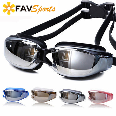 FAVSPORTS Myopia Swim Goggles Anti-Fog Swimming Eyewear Adjustable Silicone Diving Eyeglasses For Adult High Definition Anti-UV