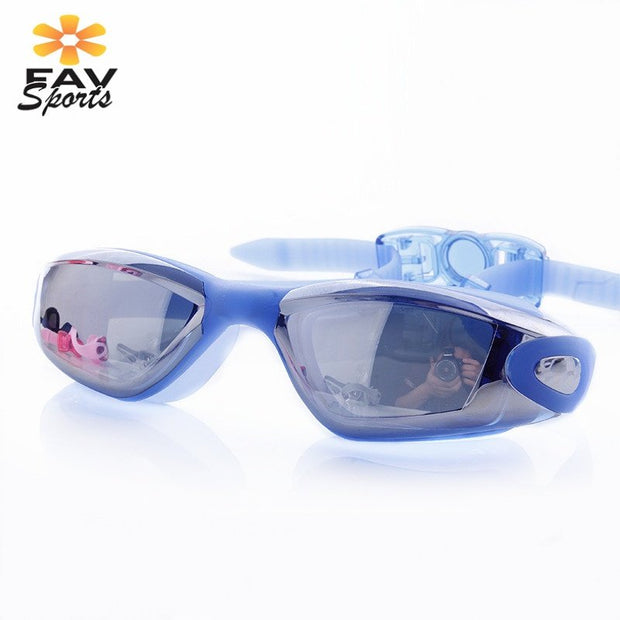 FAVSPORTS Polycarbonate Swimming Goggles Adult Unisex Anti-Fog Diving Eyeglasses UV Protection Eyewear With Protective Case
