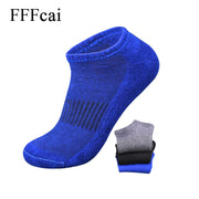 FFFcai 5 Pairs Men Sport Socks Cotton Towel Bottom High Quality Brand Soft Elastic Waist Outdoor Running Hiking Basketball Socks