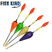 FISH KING 10PCS/Lot Balsa Fishing Float Buoys Flotteur Peche For Carp Fishing Tackle Tools 4 Color 2G 3G 4G 5G Selectable