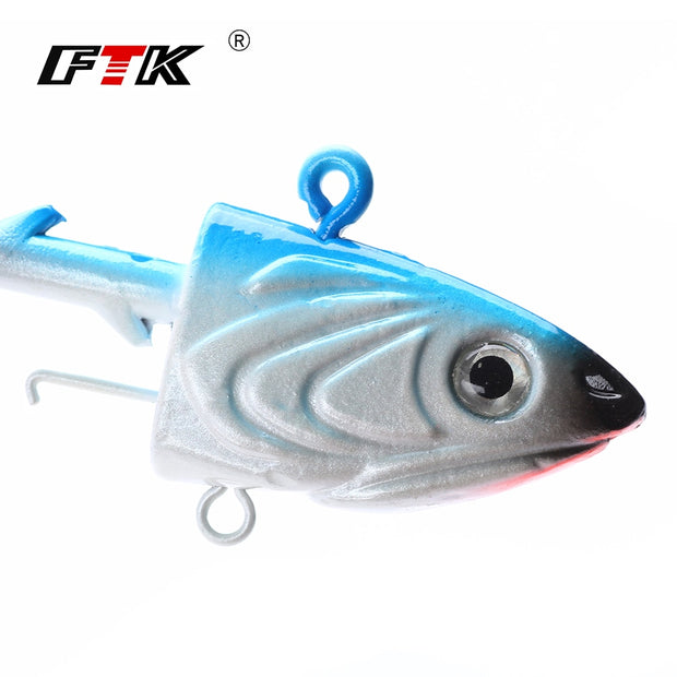 FTK 2pcs Jig Head Fishing Hook 45g/55g/80g Jig Lead Head Hook For Soft Shad Lure Strong Jigging Bait Lead Lure Fishing Tackle