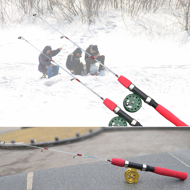 Fashion Portable 50cm Fishing Rod Removable 2 Section Metal Joint Strong Shrimp Prawn Winter Ice Fishing Fish Pole ASD88