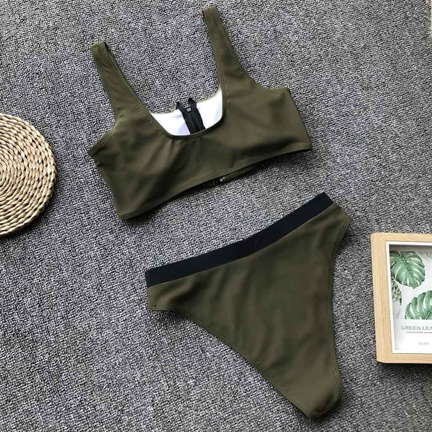 Fashion Women Solid Color Zipper Split Swimsuit Bikini Swimsuit Swimwear Bikini Mujer 2019