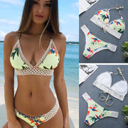 Female Beach Bathing Suits Biquini Women Sexy Striped Push-Up Padded Bra Beach Halter Bikini Set Swimsuit Swimwear 20#