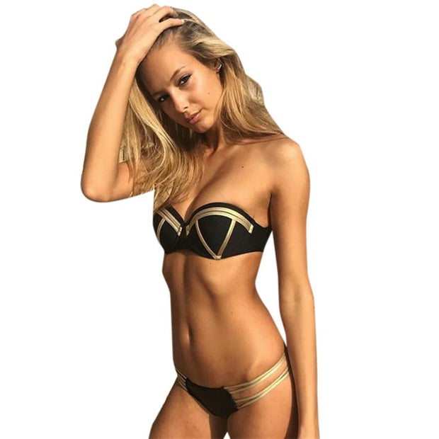 Feshion Women Sexy Bikini Set Hot Stamp Sport Swimwear Push-Up Padded Swimsuit Tankini Swimsuits Women With Short Black #LRWS