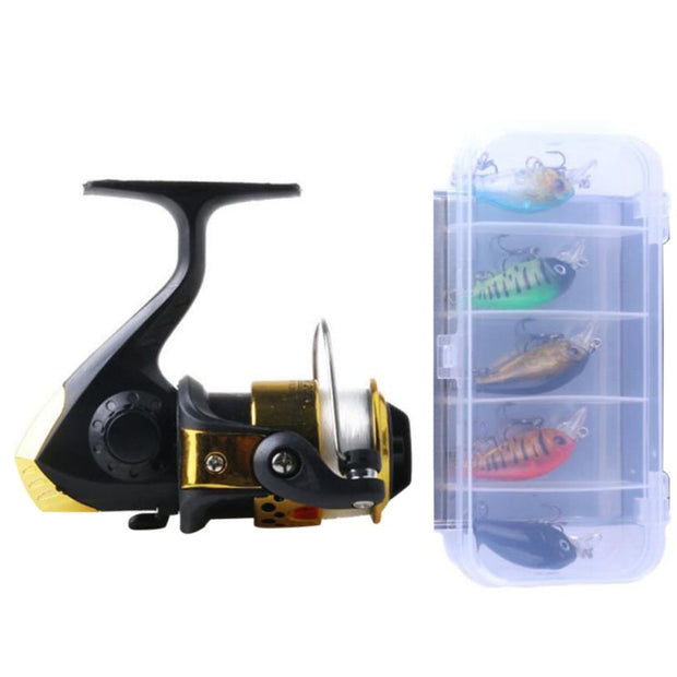 Fishing Reel Smooth Casting 5.2:1 Crank Hook Fake Lure Box Set Light Spinning Fishing Reels With 40M #6 Fishing Line