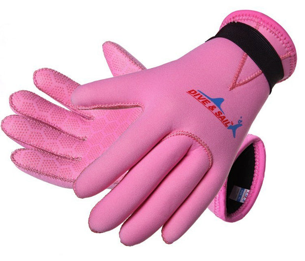 Free Shipping Wholesale New Product Blue Pink Ocean 3mm Neoprene Diving Gloves Palm Protection Of Children Boys And Girls Hot