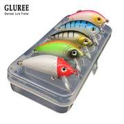 GLUREE 5Pcs 5cm Minnow Hard Baits Fishing Lures Box Set Crankbaits Wobblers Floating Artificial Bait Fishing Tackle Mixed Color