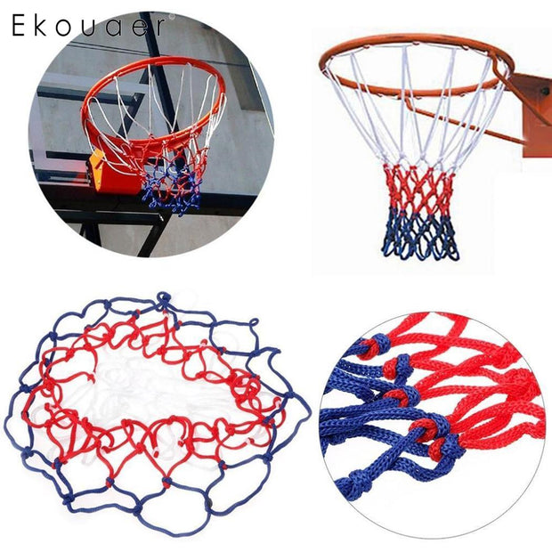 General Indoor Outdoor Sport Replacement Nylon Basketball Hoop Goal 45cm/17.7inch Blue Red White Rim Net