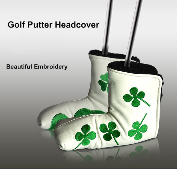 Golf Putter HeadCover Green And Black Four Leaf Clover Golf Club Headcover Accessory