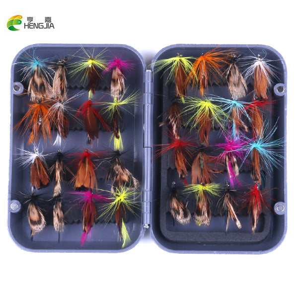 HENGJIA 32pcs/sets Fly Fishing Lure Set Artificial Insect Bait Trout Fly Fishing Hooks Tackle With Case Box