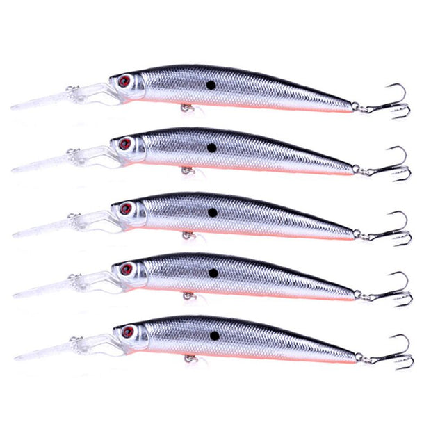 HENGJIA 5pc Fishing Lure Isca Artificial Minnow Bait Crankbait 14.5CM 14.4G Tackle 3D Fish Eyes Fishing Accessory 0.6-2.4m Depth
