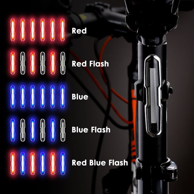 HLBY-Bike Tail Light Ultra Bright Bike Light USB Rechargeable LED Bicycle Rear Light 5 Light Mode Headlights With Red + Blue