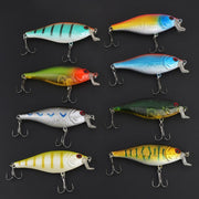 HURRISE 8PCS 10cm/14.3g Plastic Hard Fishing Lures Artificial 3D Fish Eyes Fishing Bait With Sharp 4 # Hook Fishing Tools Pesca