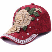 High Quality Fashion Embroidery Flower With Rhinestone Pearls Baseball Caps For Women Summer Sun Snapback Caps Hats Adjustable