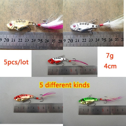 High Quality 5pcs(5kinds)/lot 7g 4cm Metal Fishing Lure Vib Bait Kit Fish Sequins With Enhanced Pin Perch Bait