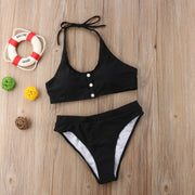 Higt Waist Bikini Set Button Push Up Padded Bra Swimwear Women Swimsuit Halter Style Sexy Women Bathing Suit Beachwear Swimming