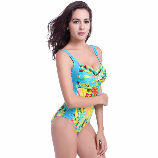 Hot Allover Print 2018 Twist Bandeau Top Double Shoulders Large Women Big Female Plus Size Swimsuit XXXL VS011