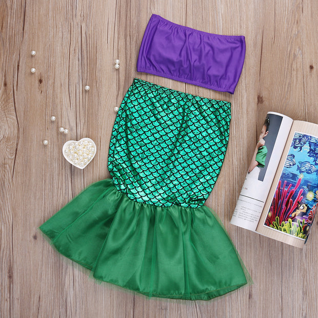 Hot Baby Girls Full Mermaid Bikini Set Costume Little Mermaid Bikini Swimwear Swimsuit Mermaid Biquini Swimming Suit For Girls