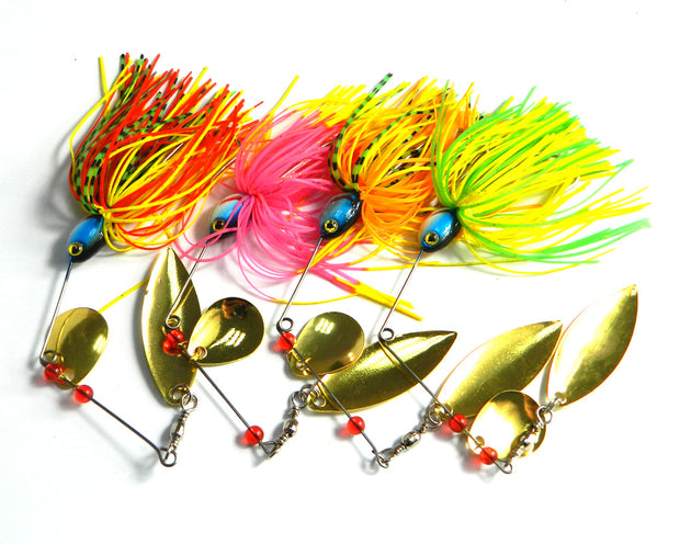 Hot Sale 4pcs 17g Spinnerbait Metal Buzzbait Reflective Golden Spoon Bait Sequins Beard Pike Fishing Tackle Rubber Jig Soft Lure