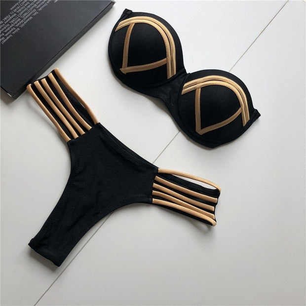 ISHOWTIENDA Swimwear Feshion Women Sexy Bikini Set Hot Stamp Sport Swimwear Push-Up Padded Swimsuit Maillot De Bain Femme 2019