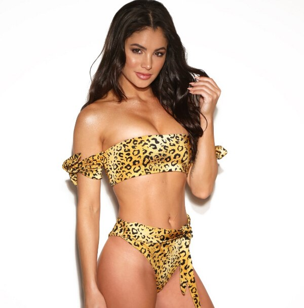 ITFABS Short Sleeve Leopard Bikini Women Swimsuit Swimwear 2019 Summer Shoulderless Bathing Suit Beach Strapless Bikini Set New