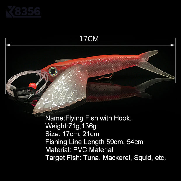 K8356 17cm 21cm Large Wings Soft Bait PVC Fishing Lure Fly Fish Software Artificial Bait Swimbait Sea Fishing Tackle Red Blue