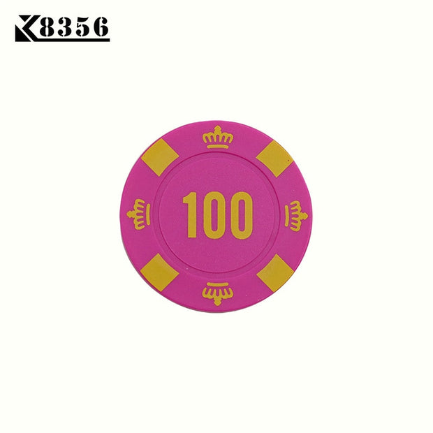 K8356 25PCS/Lot 4g ABS Crown Texas Hold'em Chips Board Games Poker Chips Mahjong Machine Club Dedicated Currency Cards Custom