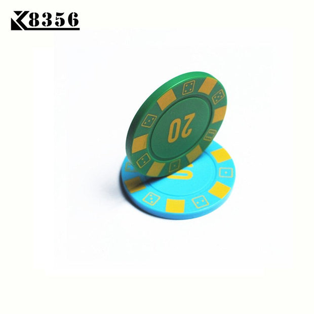 K8356 25PCS/Lot 4g ABS Dice Texas Hold'em Chips Board Games Poker Chips Mahjong Machine Club Dedicated Currency Cards Custom