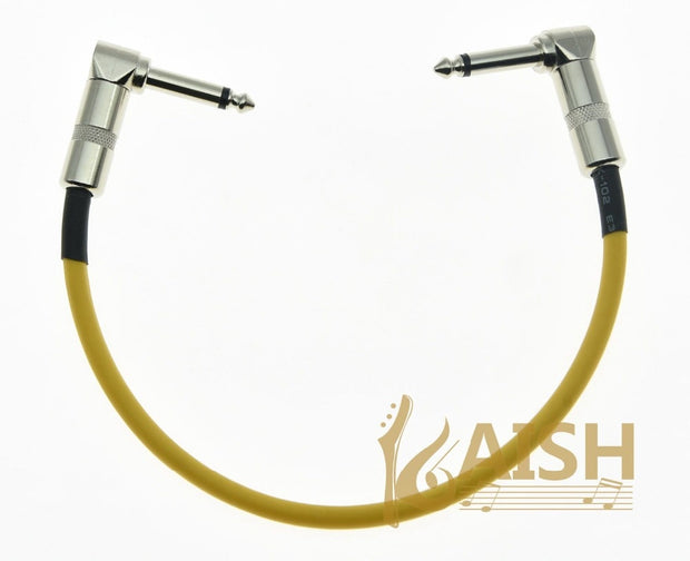 KAISH Kaish Yellow Right Angle 30cm/12'' Mono Guitar Effect Pedal Cable Effects Patch Cord