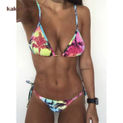Kakaforsa Floral Print Bikini Set Sexy Low Waist Leaf Bikini WomenTwo Piece Swimwear Beach Bathing Suit Swimsuit Brazil Biquini