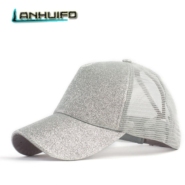 LANHUIFD 2018 Glitter Ponytail Baseball Cap Women Snapback Summer Mesh Hats Casual Sport Caps Adjustable For Women Gorra Hombre